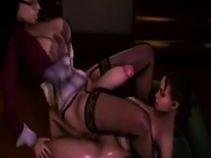 Big titted hentai shemale gets fucked and cums