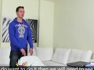 Female agent fucks amateur dude on camera