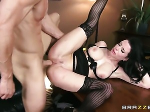 Veronica Avluv with huge boobs keeps her mouth wide open while giving deep...