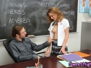 Teen in uniform fucked