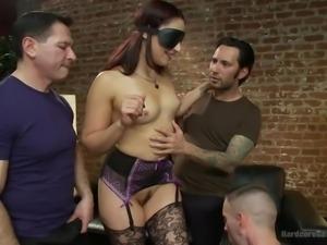 blindfolded bitch gets gang banged