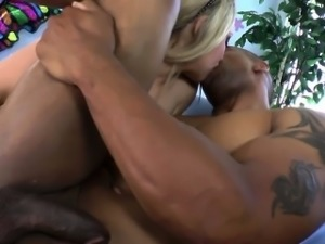 Fetish blonde blows black