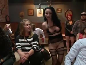 bonded brunette gets disgraced in public