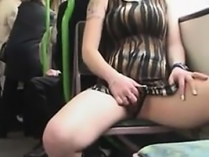 Dirty Amateur Girl Flasher On The Train