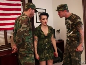 sexy slut gets banged by horny soldiers