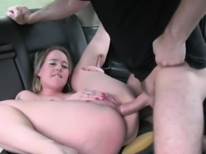 British blonde deep throats huge dick in cab taxi euro