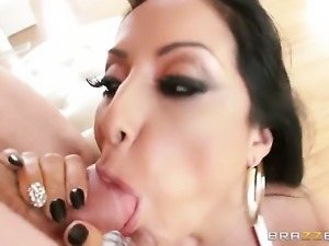 Jordan Ash pulls out his worm to fuck smoking hot Kiara Mias throat before...