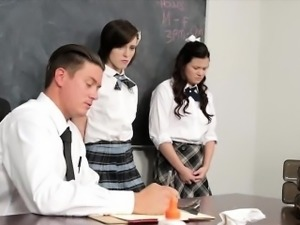 Two schoolgirls Shelby and Allison fucked by their teacher