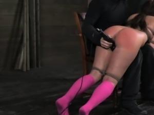 Ballgagged Mia Gold over the knee spank