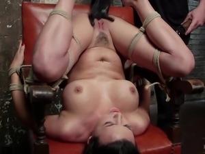 brunette gets brutally aroused