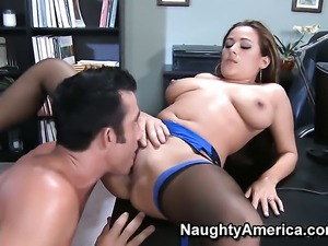 Billy Glide gets seduced into fucking by Penelope Piper with big knockers and...