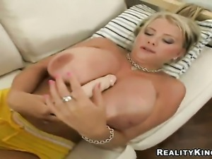 Blonde Faith with phat bottom enjoys another masturbation session after...