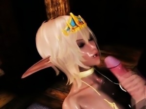 3D animated shemale gets blowjob and tittyfucked