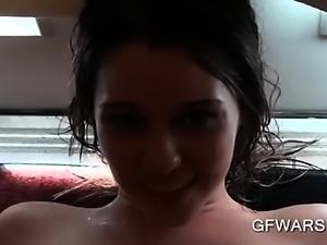 Wet brunette fellating hard penis with lust