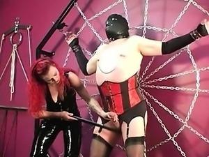 Domina Melissa punishes fat slave
