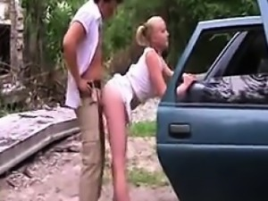 Russian Couple Park And Fuck Outside