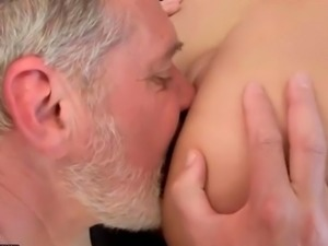 Young brunette fucking old man