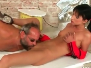 Grandpa fucking and pissing on cute girl