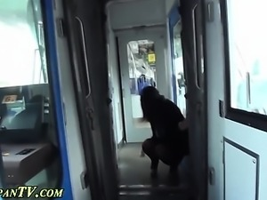 Asian slut pees on train