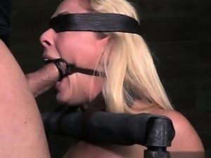 Wet pussy deepthroat gag