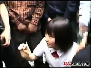 Cute Japanese Girl Does Bukkake In Public
