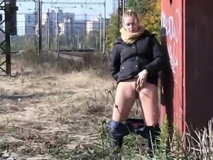 Hot chicks get off panties for a pee in public