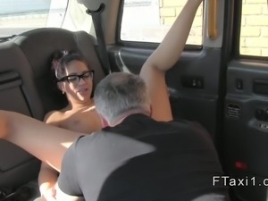 Spanish amateur does anal in fake taxi