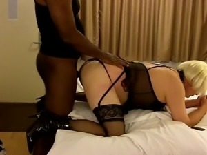 Crossdresser Amber Takes her first BBC doggy style. part 1