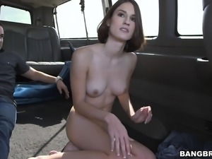 shy babe gets undressed in the bang bus