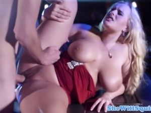 Squirting babe soaking yet another cock