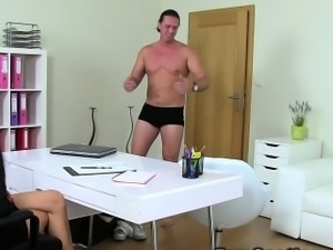 Female agent fucks muscled guy reality european