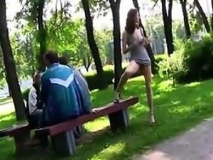 Russian Girl Flashing Outdoors In Public