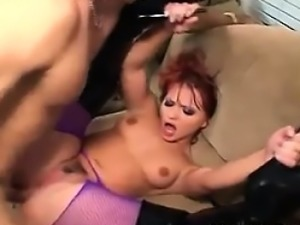 Redhead In Sexy Pantyhose Being Drilled