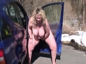 Fat Naked Woman Masturbates Outdoors