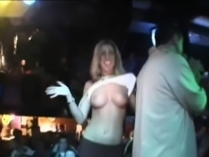 Flashing Her Breasts In Public At A Bar