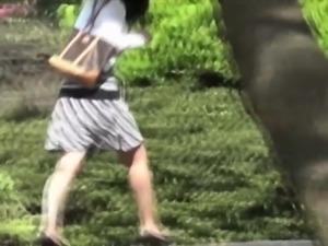 Asian teen parkbench pee