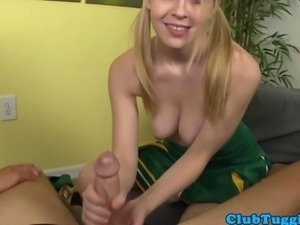 Tugging teen cheerleader with nice round tits