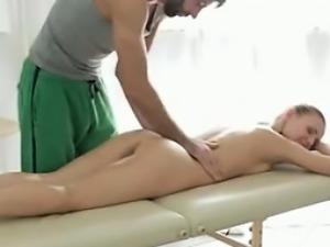Skinny blonde natural-tits massage room