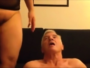 Chubby Asian MILF facesitting on grandpa