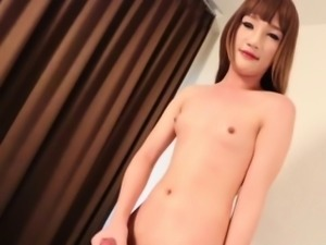 Small titted thai ladyboy pleasures herself