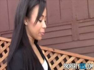 PropertySex - Hot black real estate agent tricked into fucking free