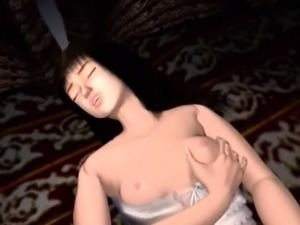 Sexy 3D anime babe rubbing pussy