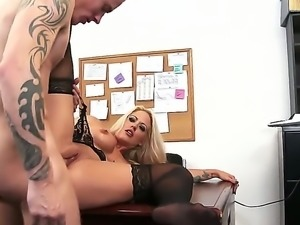 Holly Heart, a blonde slut wearing black stockings, will get her sweet pussy...