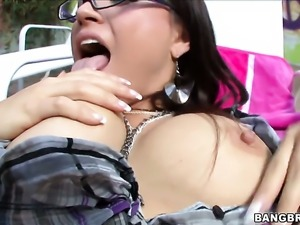 Senora Eva Angelina is on the edge of nirvana with sperm on her face