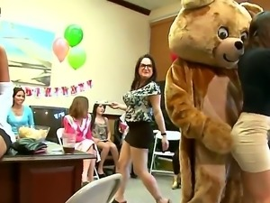 Dancing bear videos present  horny milfs who hired a dude in a bear costume...