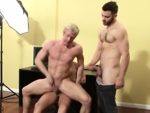 Muscular athlete dude riding dick