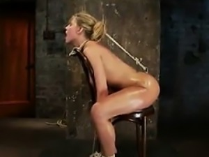 Tied Down Blonde Chick Being Abused