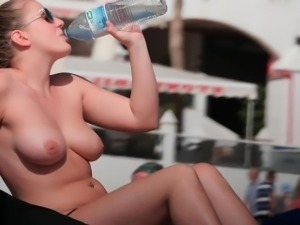 Nude Beach Busty Babe Lotion Time