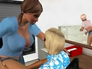 Two sexy 3D cartoon secretaries getting fucked