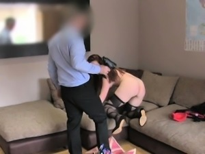 FakeAgentUK Office couch sex session for Amsterdam stripper